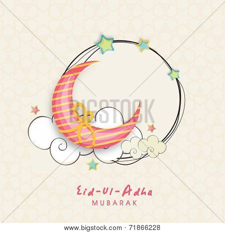 Beautiful moon knotted with circle frame decorated by stars and cloud, creative greeting card design for Muslim community festival Eid-Ul-Adha celebrations.