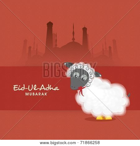 Muslim community festival of sacrifice Eid-Ul-Adha greeting card with sheep on mosque silhouette background.