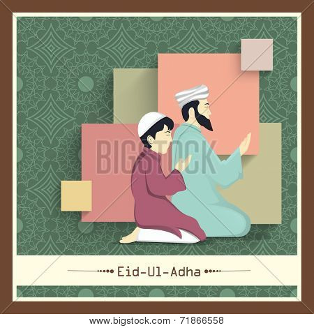 Religious young Muslim man with his son praying (Namaz, Islamic Prayer) on floral design decorated abstract background for Muslim community festival Eid-Ul-Adha celebrations.