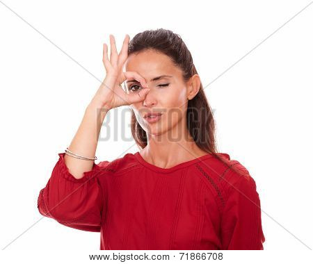 Alone Latin Woman With Ok Sign On Her Eye