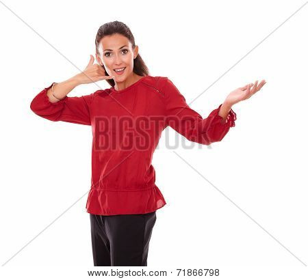 Attractive Young Woman With Call Gesture