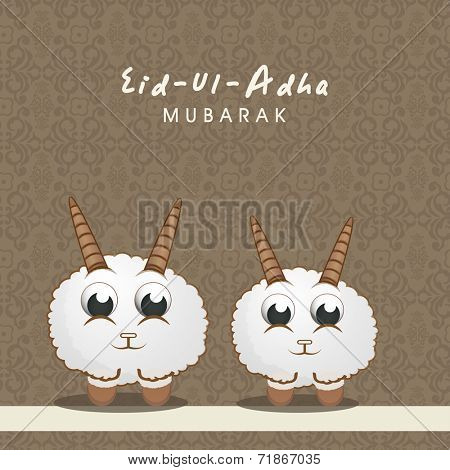 Muslim community festival of sacrifice Eid-Ul-Adha greeting card design with sheep's on brown floral design decorated seamless background.