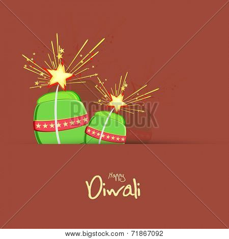Happy Diwali celebration greeting card design with fire crackers.