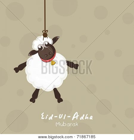 Muslim community festival Eid-Ul-Adha Mubarak celebrations with sheep hanging on seamless brown background.