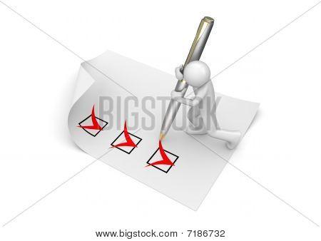 Man Marking Checkboxes