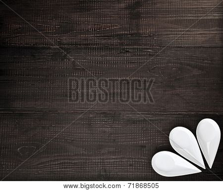 Sauce boat on black wooden rustic surface background top view