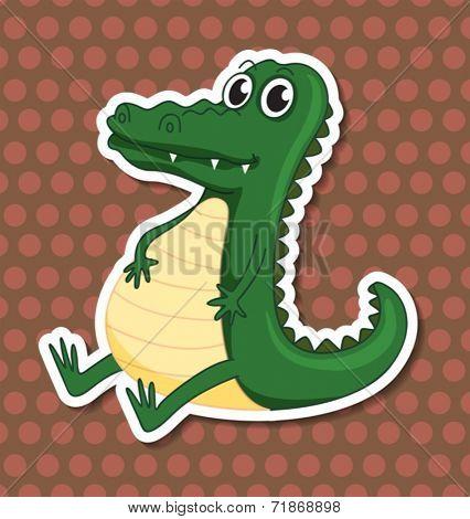 Illustraion of a single crocodile sitting