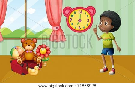 Illustration of a boy standing in a room with toys
