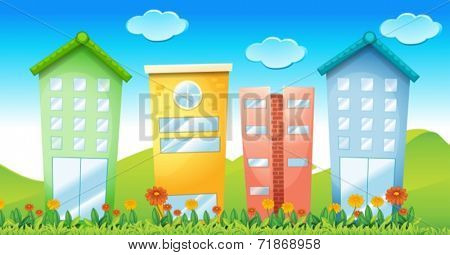 Illustraion of many colorful buildings