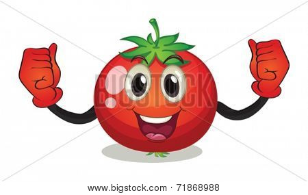 Illustraion of a tomato with face