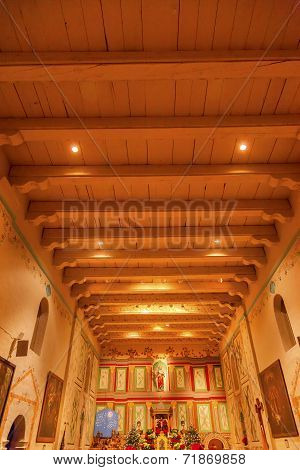 Old Mission Santa Ines Solvang California Basilica Altar Cross At Christmas
