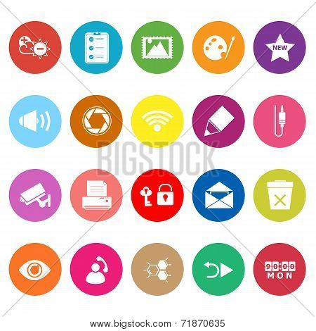 General Computer Screen Flat Icons On White Background