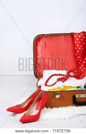 Female clothes in old suitcase on light background