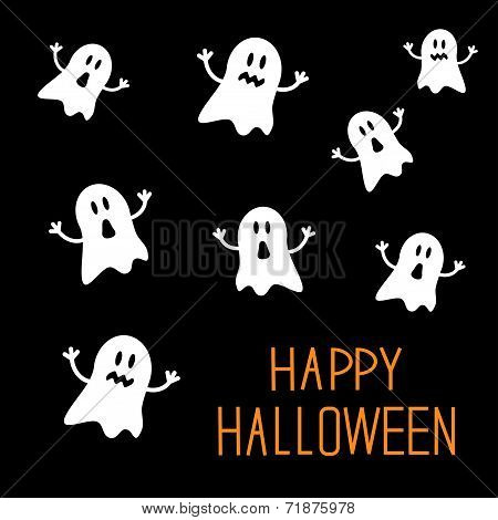 Many spook ghosts. Happy Halloween card. Flat design.
