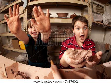 Children In A Clay Studio