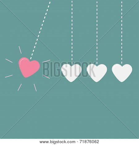 Four hanging hearts dash line. Perpetual motion. Love card