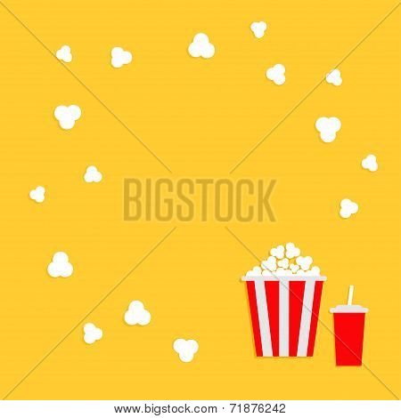 Popcorn round frame. Cinema icon in flat dsign style.