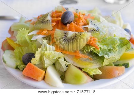Portugese mixed salad on a plate