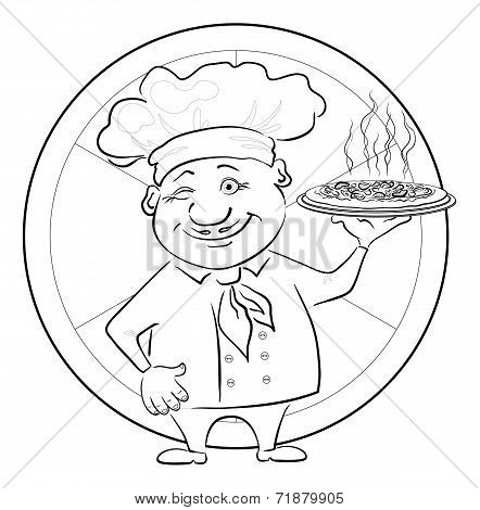 Cook with pizza, outline
