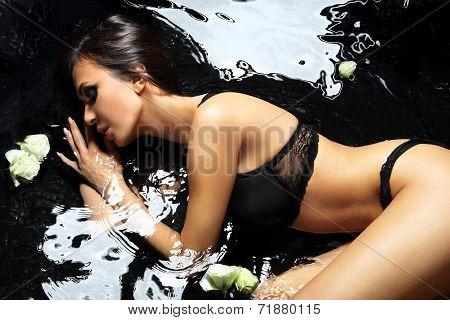 Bath- sensual beautiful woman in water