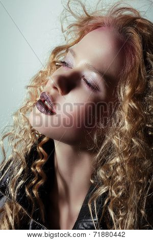 Glam. Profile Of Pensive Girl With Trendy Vivid Makeup