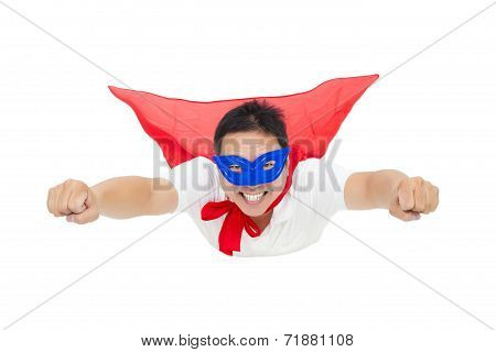happy Superman Flying With Red Cape. Isolated On White Background