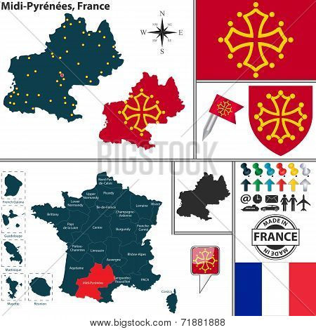 Map Of Midi-pyrenees, France