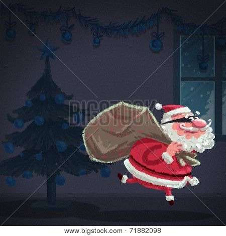 Cartoon Santa Claus Thief Is Stealing A House At Christmas