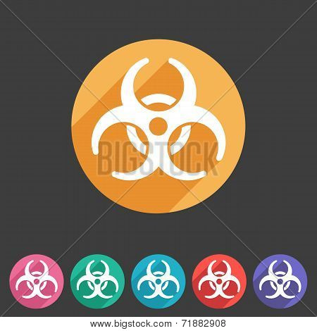 Biohazard flat icon badge