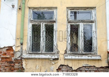 Old Bulgarian Rotting Wooden Window