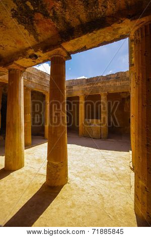 The ancient burial places cut deep into the rock in Paphos