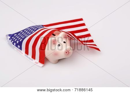Pig Money Box And Usa Flag