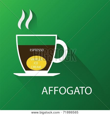 Type of coffee affogato coffee. Vector illustration