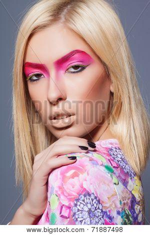 fashion blonde supermodel, closeup studio shot
