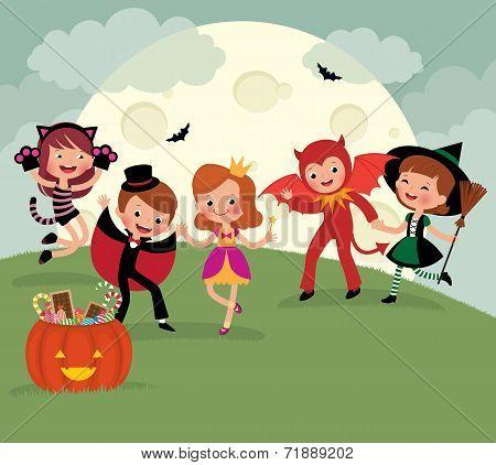 Children On Halloween Night Party