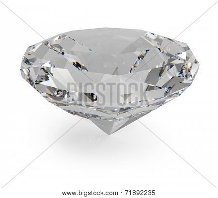 Facetted diamond isolated on white background.