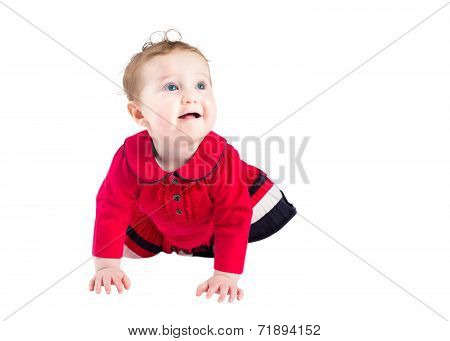 Beautiful Baby Girl In An Elegand Red Dress Learning To Crawl, Isolated On White