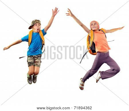 Jumping Children Reaching Something Together
