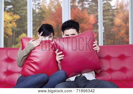 Scared Couple Watching Halloween Movie