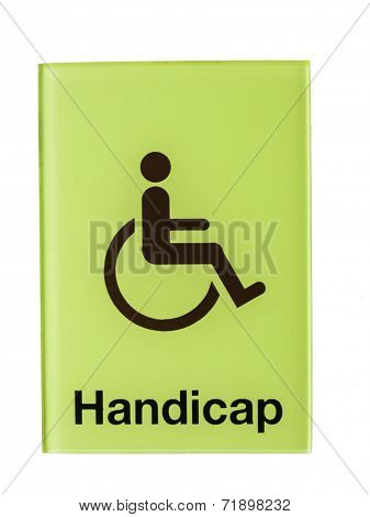 Green Glass Handicap Sign Isolated On White Background
