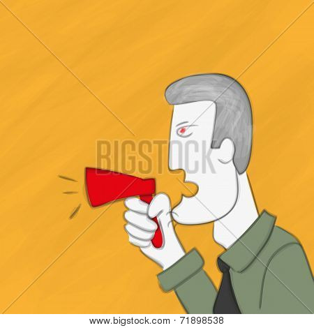 Business man is shouting via megaphone
