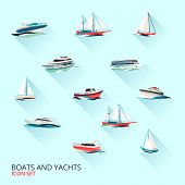 stock photo of water jet  - Water jet speed motor boats and yacht navigation sport template flat shadow pictograms set vector isolated illustration - JPG