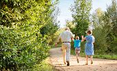stock photo of grandparent child  - Back view of grandparents and grandchild jumping on a nature path - JPG