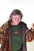 stock photo of matron  - a 50 something lady with a playful smile isolated - JPG