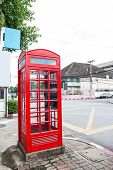 stock photo of phone-booth  - traditional red phone booth in Chiang Mai Thailand - JPG