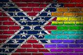 stock photo of flag confederate  - Dark brick wall texture  - JPG