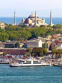 foto of constantinople  - Hagia Sophia over Sirkeci Port in Istanbul - JPG