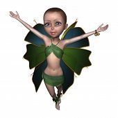 image of fairy tail  - 3D digital render of a beautiful little fairy isolated on white background - JPG