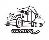 picture of tank truck  - monochrome illustration of fuel truck with cistern - JPG