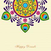 stock photo of rangoli  - Beautiful colorful rangoli on beige background for Hindu community festival Happy Diwali celebrations - JPG
